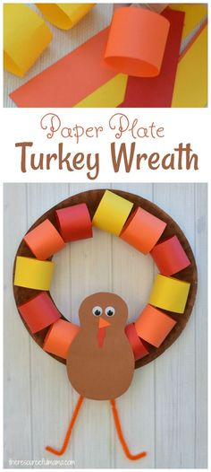 This Paper Plate Turkey Wreath is a fun kid craft and decoration for Thanksgiving.