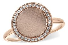 Rose Gold Circle Ring. Surrounded with diamonds.