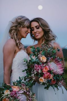 The ultimate Sunshine Coast Wedding guide with daily ideas and a FREE online bridal magazine with all the latest wedding trends! Corpse Bride Wedding, Wedding Couples, Wedding Photos, Wedding Bouquets, Wedding Flowers, Wedding Dresses, Lesbian Wedding Photography, Couple Picture Poses, Two Brides