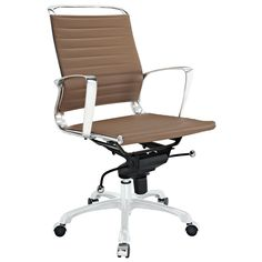 LexMod Tempo Vinyl Office Chair, Tan. Skip to a beat that your life's ambitions deserve. Tempo is a supercharged modern office chair that comes outfitted with all the amenities of its more stolid counterparts. The polished chrome-plated aluminum armrests portray a spirit on the rise, even as your arms find themselves properly positioned for the tasks at hand. The ribbed vinyl back and seat pattern help evenly disperse your body's weight, while instilling a look that imbues...