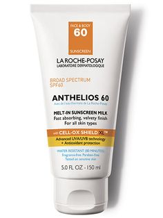La Roche-Posay Anthelios 60 Melt-In Milk with Cell-Ox Shield XL: Perfect for those with sensitive skin, this fragrance- and paraben-free, powerful antioxidant complex offers all the sun protection with fewer ingredients.