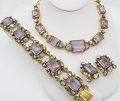 Vintage Florenza Orchid Rhinestone Necklace, Bracelet and Earrings