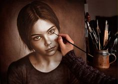 Speed Drawing Painting How to draw a portrait from photo