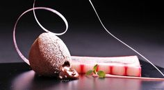 Liquid chocolate cake with rhubarb compote and punch sauce - Ivo Adam - Seven Gourmet Desserts, Plated Desserts, Just Desserts, Dessert Recipes, Chocolate Desserts, Chocolate Cake, Gourmet Recipes, Sweet Recipes, Rhubarb Compote