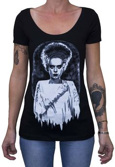 Scoop neck black fashion t-shirt printed with the artwork of tattoo artist Shayne of the Dead Bohner. Premium 100% cotton fabric with a soft design touch and quality printing techniques. We love our a