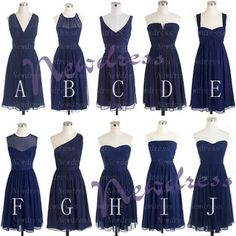 Navy blue mismatched short bridesmaid dresses, cheap chiffon simple bridesmaid dresses