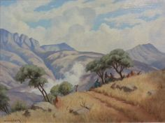 H Coetzer Landscape Oil on Canvas Pasted on Board African Paintings, South African Artists, Old Master, Art Forms, Oil On Canvas, The Good Place, Past, Colours, Watercolor