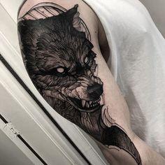 Blackwork wolf tattoo - Sister and Brother Wolf Tattoos Men, Viking Tattoos, Tribal Tattoos, Tattoos For Guys, Cool Tattoos, Tattoo Wolf, Amazing Tattoos, Tatoos, Fenrir Tattoo