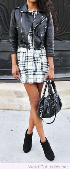 Plaid mini dress with a leather jacket