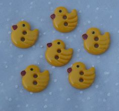 6 Yellow Plastic Duck Buttons Figural Two Hole Buttons for crafting, sewing, collages and more.     Use #coupon code SPECIALSALE at checkout today in my Etsy shop and take 15% off of your order.