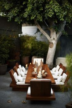 Table for 8 on the patio! Rectangular solid wood table, white cushions, now this is outdoor dining. Al Fresco Outdoor Rooms, Outdoor Dining, Outdoor Gardens, Zen Gardens, Dining Area, Outdoor Seating, Dining Tables, Outdoor Furniture, Patio Dining