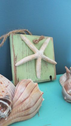 Lime Green Starfish Ornament Beach Decor Seaside Wall Hanging Seastar Jute Ocean Decor Nautical Ornament Blue on Etsy, $22.00