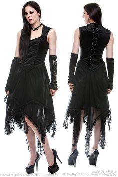 Zella Black Gothic Dress with Witchy Hem by Sinister