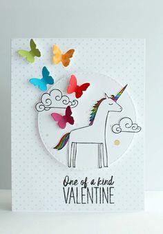 Magical unicorn valentine's day card