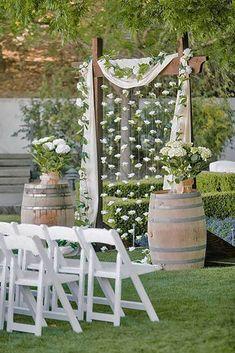 New Ideas For Backyard Wedding Ceremony Backdrop Hanging Flowers Wedding Arbors, Wedding Arch Rustic, Diy Wedding Backdrop, Wedding Aisle Decorations, Backdrop Ideas, Wedding Backyard, Wedding Reception, Reception Ideas, Garden Wedding