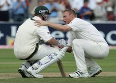 On this day (August 7) in 2005, the world was treated to one of the most iconic and poignant images in cricket from probably the most memorable Test match in the long and storied history of the game. Shown here, Andrew Flintoff consoling Brett Lee after England took the final wicket to win on a nail-biting fourth day at Edgbaston of the second Test against Australia.