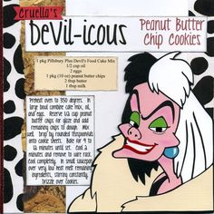Disney recipe pages single: DeVil-icious Peanut Butter Chip Cookies. Go to site for ideas. Retro Recipes, Old Recipes, Vintage Recipes, Potato Recipes, Disney Dishes, Disney Desserts, Disney Drinks, Disney Food Recipes, Deserts