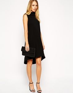 ASOS Midi Dress with Dippped Hem in Texture