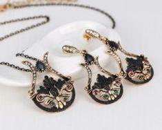 Elegantný šperkový set - naušnice + náhrdelník, vo vintage štýle v čierno-zlatom prevedení, Drop Earrings, Jewelry, Jewlery, Jewerly, Schmuck, Drop Earring, Jewels, Jewelery, Fine Jewelry