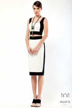 Black & white top and skirt from Spring Summer 2015 Collection. Fashionable evening outfit.