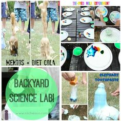 Backyard Science Lab for kids   Racheous - Lovable Learning Preschool Science, Elementary Science, Science Classroom, Teaching Science, Science For Kids, Science Activities, Activities For Kids, Science Party, Science Resources