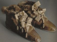 A pair of beautiful fur lined boots,  Malmaison, Empress Josephine.