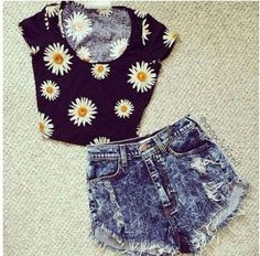 So for a spring or summer look, I have a black sunflower crop top. With frayed denim shorts. Perfect for concerts and festivals!