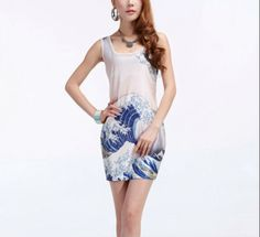 Wholesale + Free Shipping !! New!! 2013 New Women's Digital Printing Dress Sea Waves Tight Package Hip Vest Skirt-in Dresses from Apparel & Accessories on Aliexpress.com