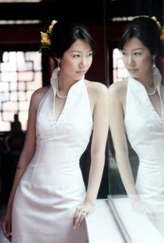 Mandarin Collar White Wedding Cheongsam