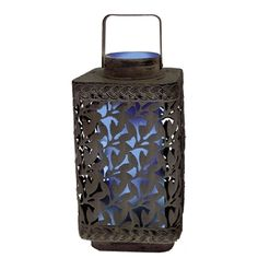 "10"" Solar Leaf Cluster Lantern with Blue Light. These Solar Leaf Cluster Lanterns are made of durable metal. They are art sculpture by day - hang it or place on a table - light by night. Unique internal solar module for a clean, neat, sophisticated look. #lantern #solar #light"