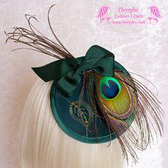 Green Peacock Feather Fascinator, gold, Victorian, goth, lolita, rockabilly, Cocktail Hat, head piece, wedding, dress, races, mini, fancy