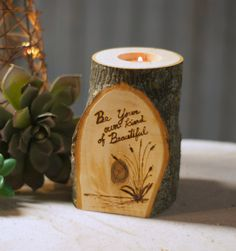 Burned Log Candle Holder Rustic Home Decor by GFTWoodcraft on Etsy