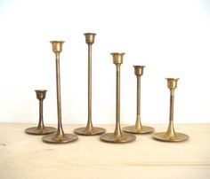 Brass Candlesticks With Tulip Base by Fine Bird Vintage traditional-candles-and-candle-holders