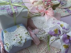 hanky gift boxes- great idea @Esther Bratton this made me think of your style :)