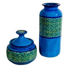 Vibrant Italian Bitossi Pottery Vase and Covered Jar | From a unique collection of antique and modern vases and vessels at https://www.1stdibs.com/furniture/decorative-objects/vases-vessels/