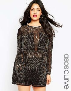 ASOS CURVE NIGHT Embellished Playsuit- So impractical, but so cute!