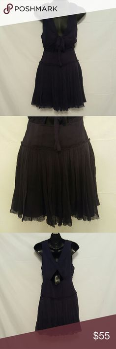Free People Tie Front Boho Dress Size 6 Dark Blue Free people dress Fringe detailing on the hem Triangle cut outs in front and back Brand new Never worn No tags Free People Dresses