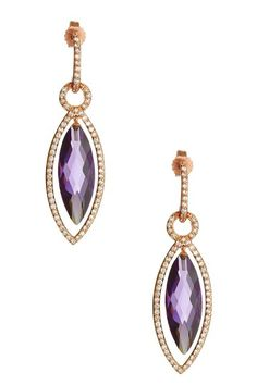 Pave CZ Amethyst Drop Earrings by Oscar Glam: Jewelry Event on @HauteLook