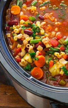 Homemade Minestrone Soup {Slow Cooker}: omit whatever you need to make it compliant!