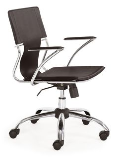 Trafico Office Chair Espresso.  This fun and functional office chair combines a modern and transitional look. The Trafico office chair is made from a solid chrome frame, leatherette sling seat and arm pads, a chrome base, and an adjustable height mechanism.