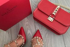 Things I want for Christmas 2016 - Valentino Rockstud Crossbody Bag and Heels in Red - Luxoview.com