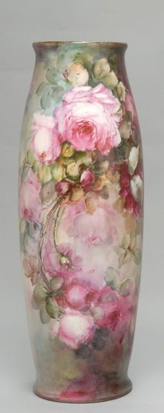 Limoges vase.  So pretty!  Just luscious and yummy pink roses!