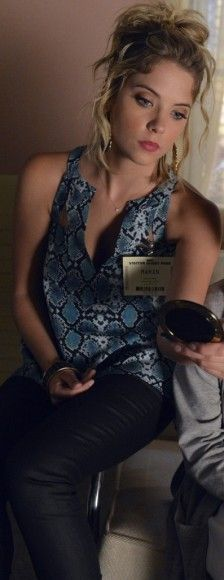 Hanna's blue snakeskin top on Pretty Little Liars.  Outfit Details: http://wornontv.net/3977/ #PrettyLittleLiars