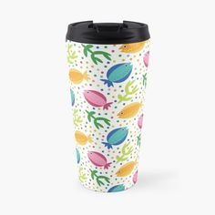 Cute Fish, Unique Coffee Mugs, Tropical Pattern, Colorful Fish, Background Patterns, Travel Mug, Finding Yourself, Dots, Art Prints