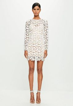 32139343f597 White Star Lace Bodycon Dress Discount Clothing, White Long Sleeve, Online  Clothing Stores,