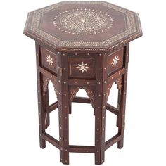 Anglo-Indian octagonal rosewood ivory inlaid table. Table Top and bottom can be separated and bottom can be folded flat