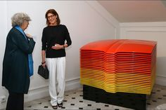 Princess Caroline of Hanover visits 'Construire une collection' or 'Building a Collection' exhibition on March 19, 2015 in Monaco.