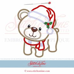 3 Woodland Christmas (PPP): Bear 3 Hoop Sizes
