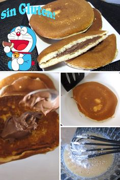 Hoy aprenderás a hacer los dorayakis, ese dulce japonés que es el favorito de Doraemon. Esta receta no contiene gluten ... Japanese Appetizers, Doraemon, Korean Food, Food Art, Breakfast, Gluten Free Desserts, Cooking, Japanese Sweets, Pastries