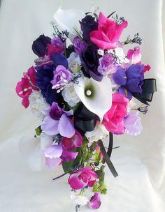 MICHIGAN - Wedding Flowers Cascade Bouquet Purple Fuschia Black silk flowers. $139.00, via Etsy.